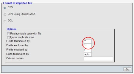Select the CSV button to open this part of the import page.
