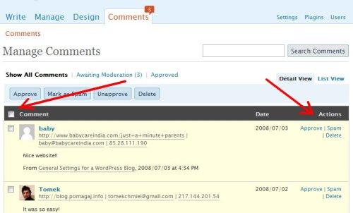 wordpress comments manage