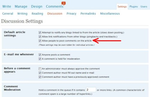 wordpress comments settings discussion