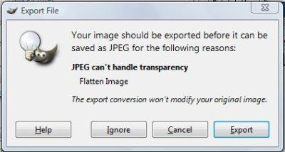 export image from the gimp dialog box