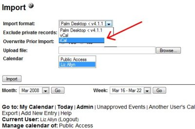 Import function for WebCalendar.