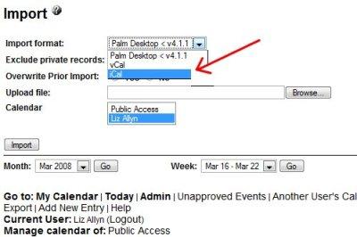 Import function for WebCalendar.
