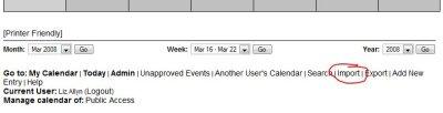 WebCalendar import link.