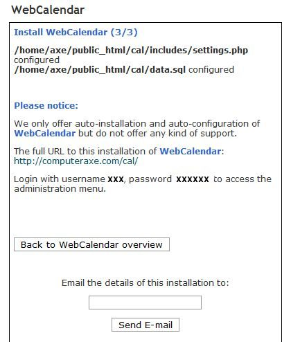 User details for WebCalendar install.