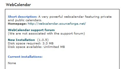 Installation screen for WebCalendar.