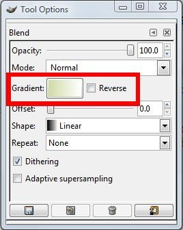 latest gradient highlighted in tool options