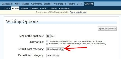 Writing options default post category of uncategorized.