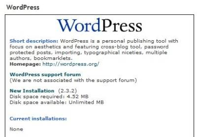 WordPress installation.