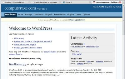 WordPress Dashboard - the palce to start your blogging adventure.