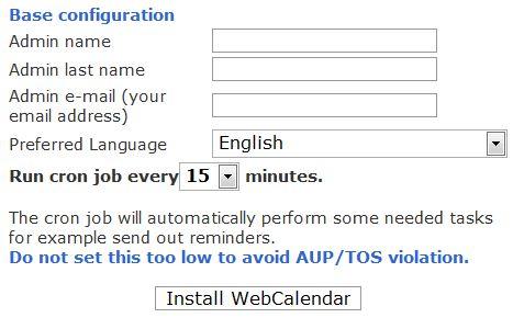 WebCalendar Install.