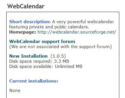 Installing WebCalendar.