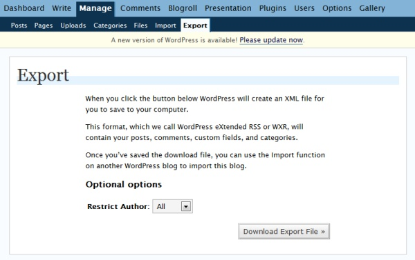 Exporting an old blog saves an XML file to your computer.