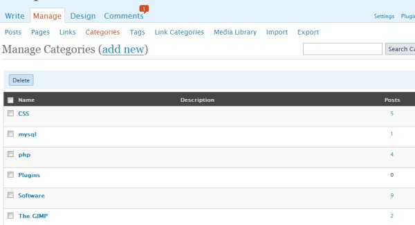 Add new, edit existing and manage categories for blog posts.