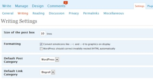 Settings in WordPress for writing a blog post.