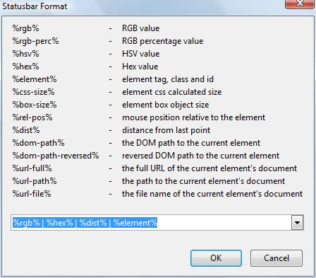 ColorZilla menu for statusbar formatting.